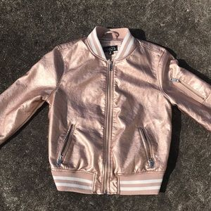 Rue 21 Shimmery Rose Gold Baseball Jacket sz M